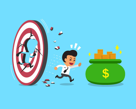 destroying the competition: Cartoon businessman with target and money bag Illustration