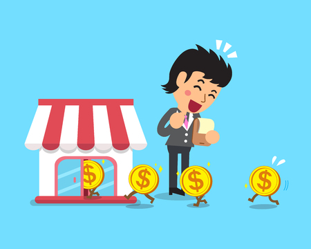 earning: Cartoon businesswoman earning money with her business