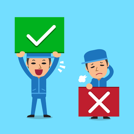 Technician with right and wrong signs Illustration