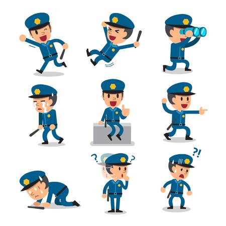 character poses: Cartoon policeman character poses