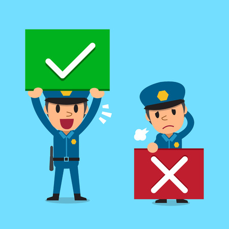 Cartoon policeman with right and wrong signs Illustration