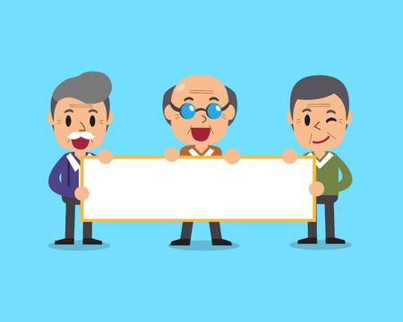 paperboard: Cartoon senior men holding board for presentation Illustration