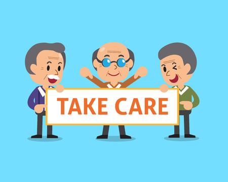 Cartoon senior men holding take care sign