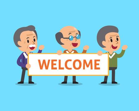 senior men: Cartoon senior men holding welcome sign