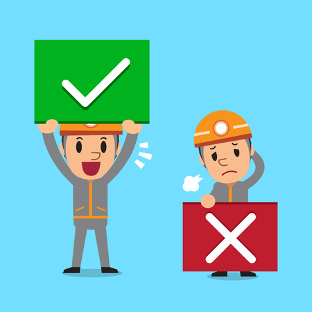 wrong: Cartoon technician with right and wrong signs Illustration