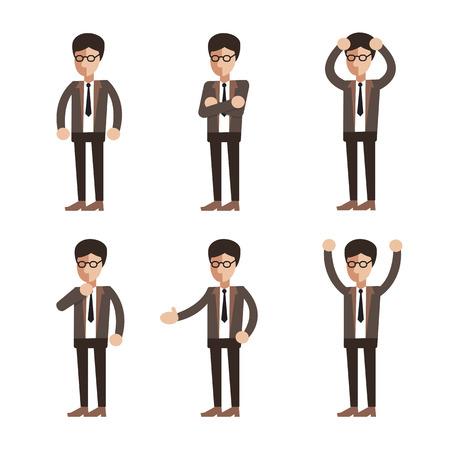 Businessman character poses set