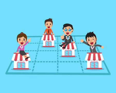business team: Business team with franchise business concept Illustration
