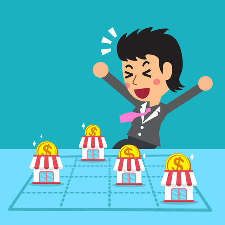earning: Businesswoman earning money with franchise business concept Illustration