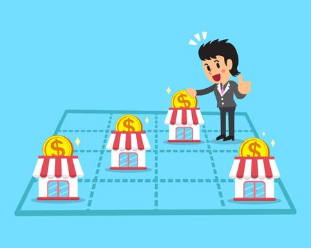 Cartoon Geschäftsfrau, Geld zu verdienen mit Franchise-Unternehmen Standard-Bild - 61448731