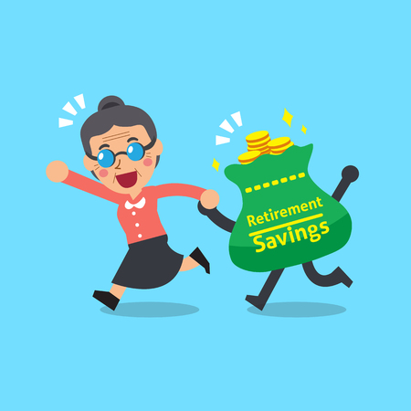 Cartoon senior woman with retirement savings bag Illustration