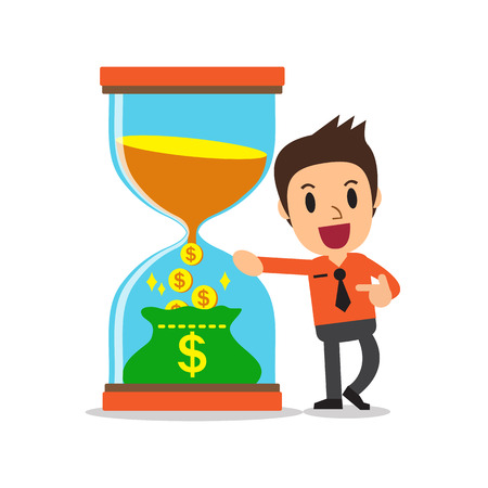 Business concept convert time to money with businessman