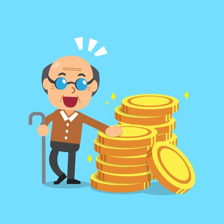 Cartoon senior man with money coins