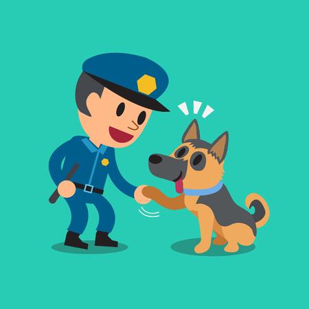 guard dog: Cartoon security guard policeman with police guard dog Illustration