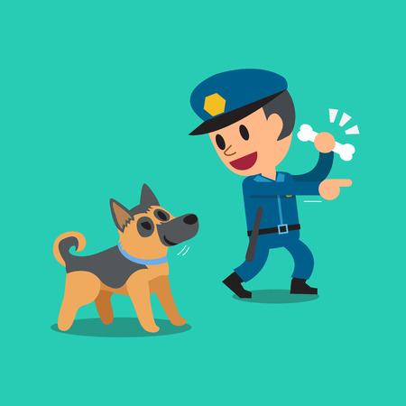 guard dog: Cartoon security guard policeman and police guard dog Illustration