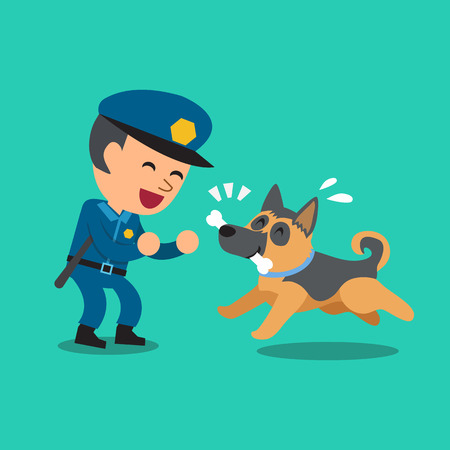 Cartoon security guard policeman playing with police guard dog