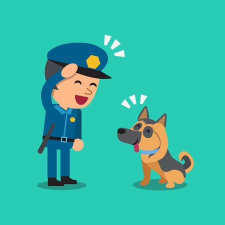 guard dog: Cartoon security guard policeman with his guard dog