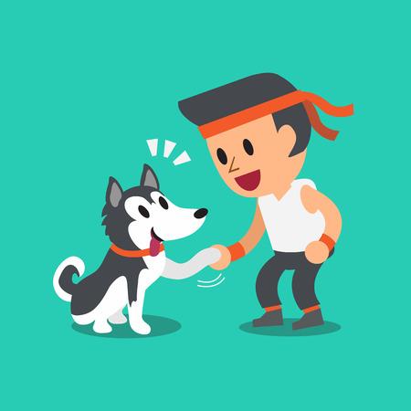 siberian husky: Cartoon man with his siberian husky dog Illustration