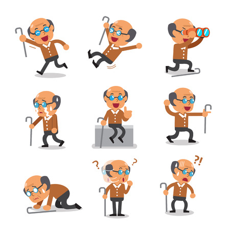 Cartoon alter Mann Charakter Posen Standard-Bild - 62146406