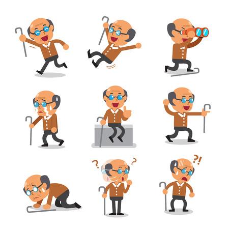 Cartoon old man character poses