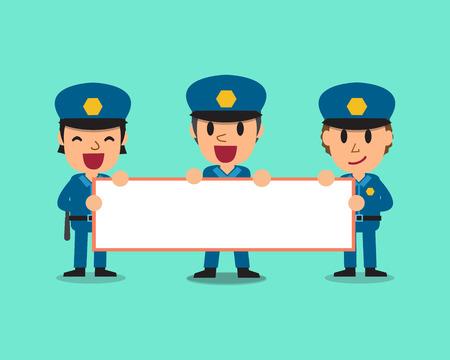 policemen: Cartoon policemen holding board for presentation