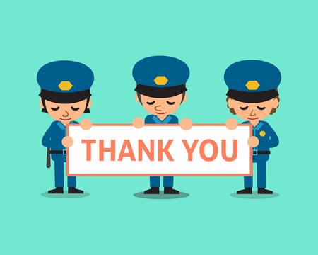policemen: Cartoon policemen holding thank you sign