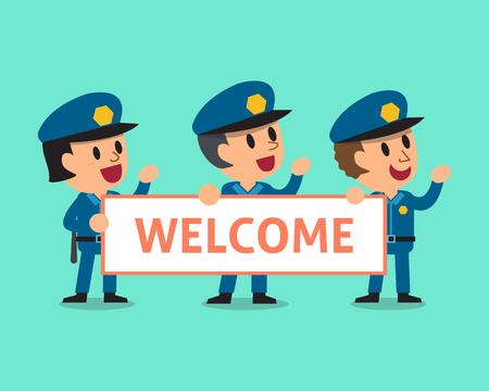 policemen: Cartoon policemen holding welcome sign Illustration