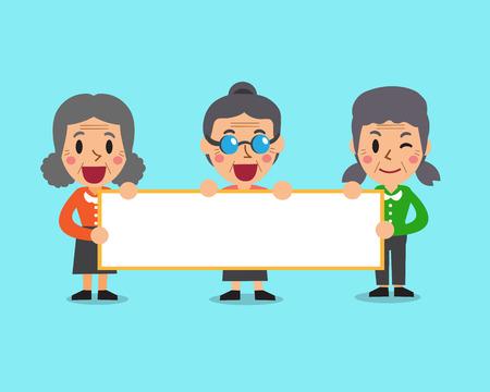 Cartoon senior women holding board for presentation Illustration