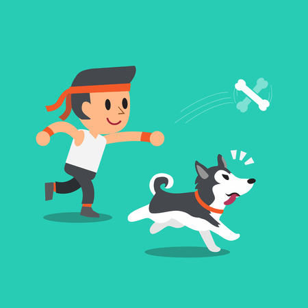 siberian husky: Cartoon a man playing with his siberian husky dog
