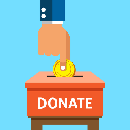 pay raise: Hand putting money coin in the donation box Illustration