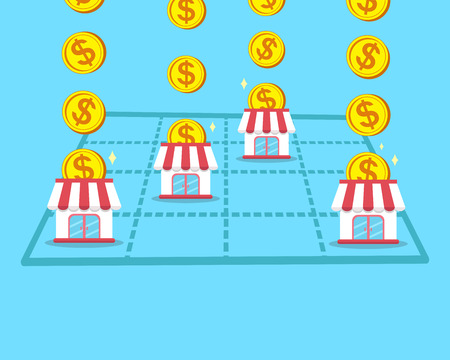 franchising: Business concept make money with franchise store