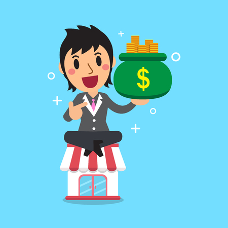 earning: Cartoon businesswoman earning money with her business store Illustration