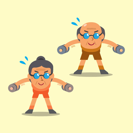 raise: Cartoon senior man and woman doing dumbbell bent over lateral raise exercise Illustration