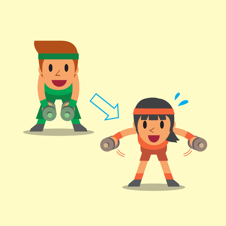 Cartoon man and woman doing dumbbell bent over lateral raise exercise step training Illustration