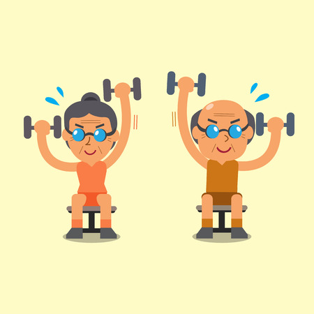 Cartoon senior man and woman doing alternate seated dumbbell press exercise