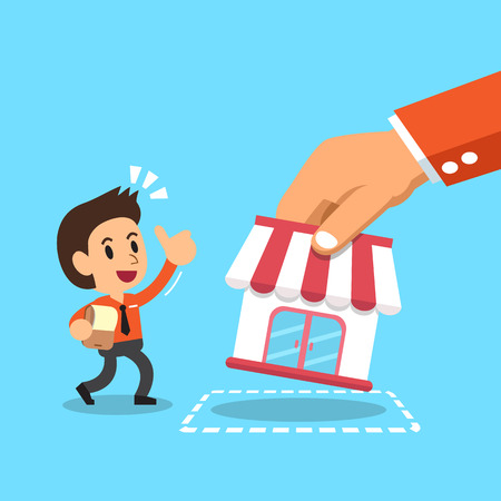 Hand putting business store to businessman Vector Illustration
