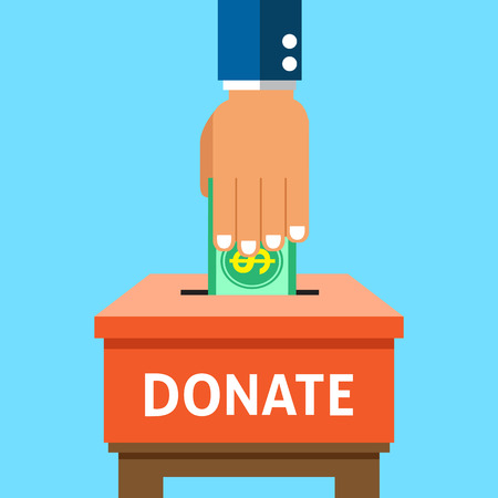 pay raise: Hand putting money in the donation box Illustration