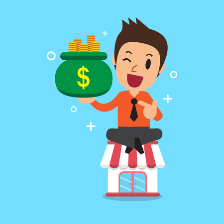 Cartoon businessman earning money with his business store