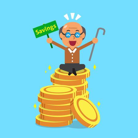 monedas antiguas: hombre mayor de dibujos animados con las monedas de dinero Vectores