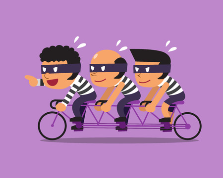 Cartoon three thieves ride tandem bicycle Ilustrace