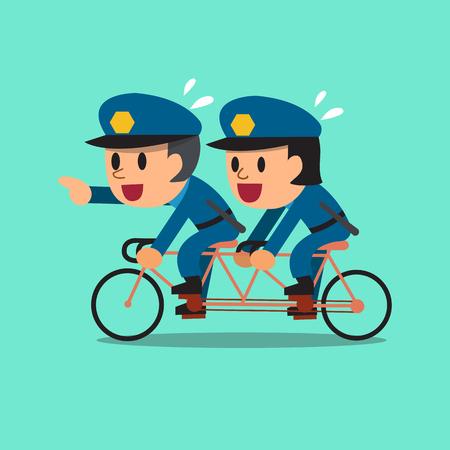 policemen: Cartoon policemen ride tandem bicycle