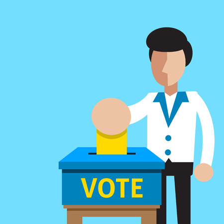 polling booth: A man putting voting paper in the ballot box Illustration