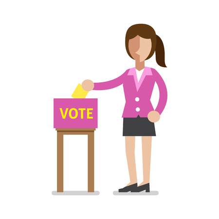 Businesswoman putting voting paper in the ballot box