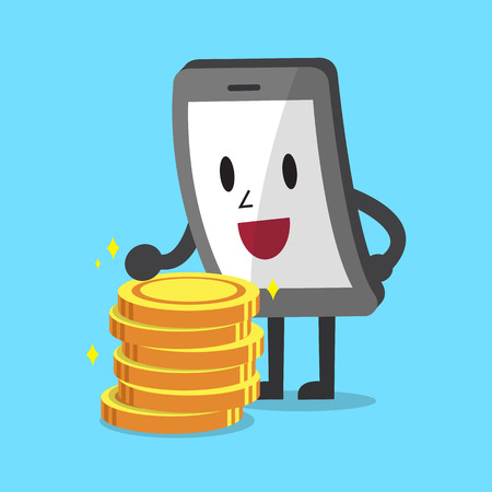 coin stack: Cartoon smartphone with money coin stack Illustration