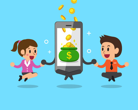 earn money: Business concept cartoon smartphone help business people to earn money