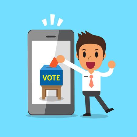 Zakenman stemmend papier in smartphone zetten