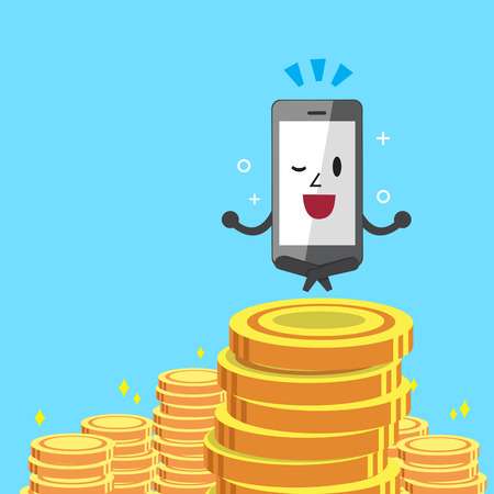 Cartoon smartphone and money coins