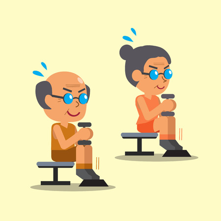 seated: Cartoon senior man and woman doing dumbbell seated calf raise exercise