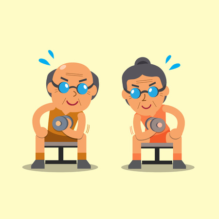 Cartoon senior man and woman doing dumbbell concentration curl exercise Vettoriali