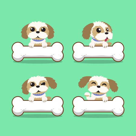 shih tzu: Cartoon character shih tzu dog with big bones