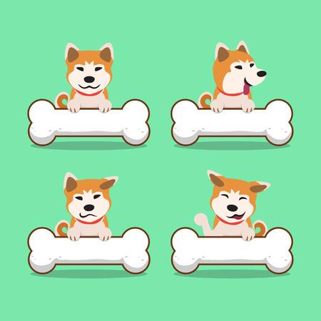 akita: Cartoon character akita inu dog with big bones